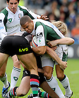 Twickenham, GREAT BRITAIN, Exiles, James BAILEY,  caught by the Harlequins defense, during the EDF Energy Cup rugby match,  Harlequins vs London Irish, at Twickenham Stoop, Surrey on Sat 25.10.2008 [Photo, Peter Spurrier/Intersport-images]