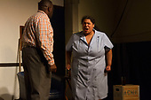 The Hyde Park Community Players performed the Pulitzer Prize and Tony Award winning play, &ldquo;Clybourne Park&rdquo; Friday, May 12th, 2017 and Sunday, May 14th, 2017 at the University Church located at 5655 S. University Ave. The play is an analysis of how the social dynamics of race have changed in 50 years.<br /> <br /> 3764 &ndash; Paul Upshaw as Albert and Shonte Wesson as Francine.<br /> <br /> Please 'Like' &quot;Spencer Bibbs Photography&quot; on Facebook.<br /> <br /> All rights to this photo are owned by Spencer Bibbs of Spencer Bibbs Photography and may only be used in any way shape or form, whole or in part with written permission by the owner of the photo, Spencer Bibbs.<br /> <br /> For all of your photography needs, please contact Spencer Bibbs at 773-895-4744. I can also be reached in the following ways:<br /> <br /> Website &ndash; www.spbdigitalconcepts.photoshelter.com<br /> <br /> Text - Text &ldquo;Spencer Bibbs&rdquo; to 72727<br /> <br /> Email &ndash; spencerbibbsphotography@yahoo.com