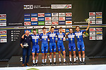 Quick-Step Floors win the Men's Elite Team Time Trial of the 2018 UCI Road World Championships running 62.8km from &Ouml;tztal to Innsbruck, Innsbruck-Tirol, Austria 2018. 23rd September 2018.<br /> Picture: Innsbruck-Tirol 2018/BettiniPhoto | Cyclefile<br /> <br /> <br /> All photos usage must carry mandatory copyright credit (&copy; Cyclefile | Innsbruck-Tirol 2018/BettiniPhoto)