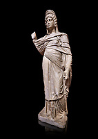 Roman statue of Julia Domina . Marble. Perge. 2nd century AD. Inv no 3268. Antalya Archaeology Museum; Turkey. Against a black background.<br /> <br /> Julia Domna (AD 160&ndash;217) was a Roman empress , the second wife of Septimius Severus (reigned 193&ndash;211).