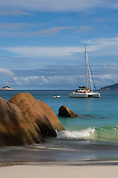Seychelles, Island Praslin, Anse Lazio: sailing boats at Praslin's most beautiful beach<br />