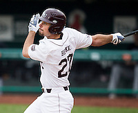 Dylan Becker (27) of the Missouri State Bears follows through his swing during a game against the Northwestern Wildcats at Hammons Field on March 8, 2013 in Springfield, Missouri. (David Welker/Four Seam Images)