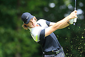 Tommy FLEETWOOD (ENG) tees off on the 2nd hole during the final round of the 2015 BMW PGA Championship over the West Course at Wentworth, Virgina Water, London. 24/05/2015<br /> Picture Fran Caffrey, www.golffile.ie