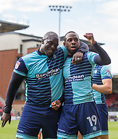 Goalscorer Myles Weston of Wycombe Wanderers is congratulated by Adebayo Akinfenwa of Wycombe Wanderers during the Sky Bet League 2 match between Leyton Orient and Wycombe Wanderers at the Matchroom Stadium, London, England on 1 April 2017. Photo by Andy Rowland.
