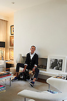 Ben de Lisi with his French bulldogs Luca, Tea and Noah at their home in Battersea