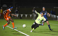 Kansas City, MO - Saturday May 07, 2016: FC Kansas City goalkeeper Nicole Barnhart (18) makes a save against Houston Dash forward Chioma Ubogagu (9) during a regular season National Women's Soccer League (NWSL) match at Swope Soccer Village. Houston won 2-1.