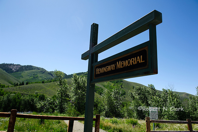 Hemingway Memorial with a diversion of Trail Creek near Sun Valley, Idaho