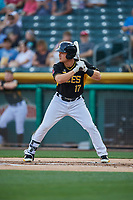 Matt Thaiss (17) of the Salt Lake Bees bats against the El Paso Chihuahuas at Smith's Ballpark on August 14, 2018 in Salt Lake City, Utah. El Paso defeated Salt Lake 6-3. (Stephen Smith/Four Seam Images)
