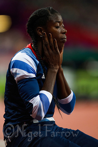 05 AUG 2012 - LONDON, GBR - Christine Ohuruogu (GBR) of Great Britain waits for the start of the women's 400m final during the London 2012 Olympic Games athletics in the Olympic Stadium at the Olympic Park in Stratford, London, Great Britain .(PHOTO (C) 2012 NIGEL FARROW)