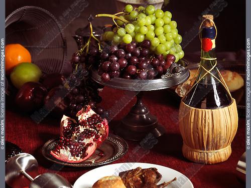 Artistic still life of festive dinner meal on a table