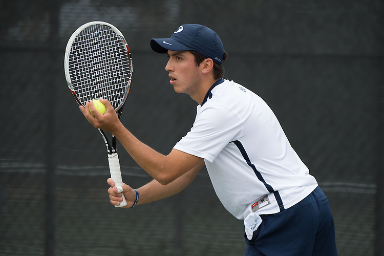 April 22, 2015; San Diego, CA, USA; BYU Cougars tennis player Juan Canales during the WCC Tennis Championships at Barnes Tennis Center.