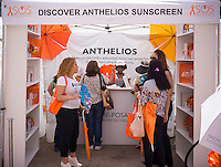 A promotional event by the cosmetics company La Roche-Posay in Madison Square in New York on Saturday, June 22, 2013 offers free skin cancer screening as well as promoting their skin care products. (© Richard B. Levine)