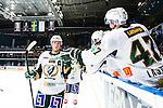 Stockholm 2014-01-18 Ishockey SHL AIK - F&auml;rjestads BK :  <br /> F&auml;rjestads Magnus Nygren firar lagkamrater efter att F&auml;rjestads Martin R&ouml;ymark gjort 4-2<br /> (Foto: Kenta J&ouml;nsson) Nyckelord:  jubel gl&auml;dje lycka glad happy