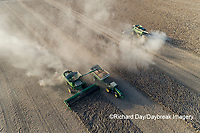 63801-13602 Harvesting soybeans in fall-aerial  Marion Co. IL