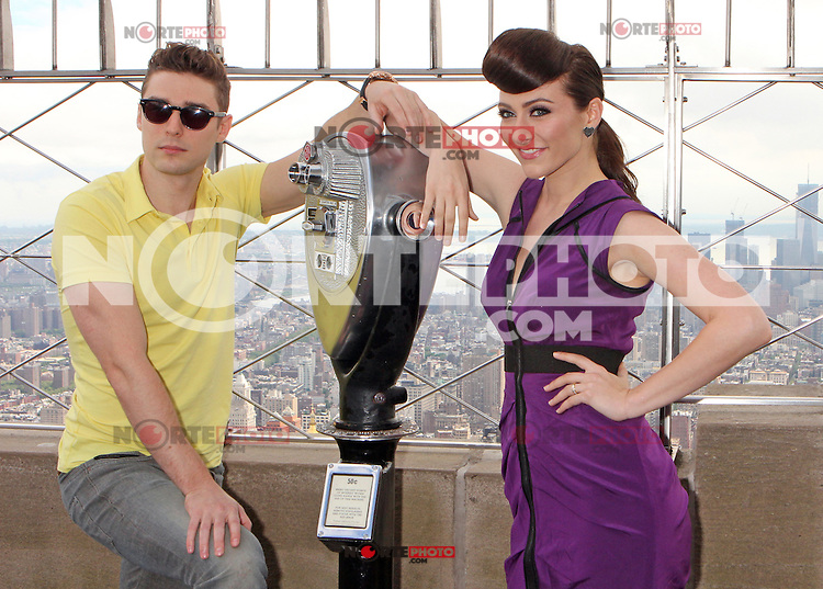 """Amy Heidemann and Nick Noonan, the engaged musical duo who perform under the name Karmin promoting their album, """"Hello"""" at the Empire State Building's 86th floor Observatory in New York, 22.05.2012...Credit: Rolf Mueller/face to face / Mediapunchinc"""