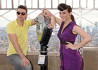 "Amy Heidemann and Nick Noonan, the engaged musical duo who perform under the name Karmin promoting their album, ""Hello"" at the Empire State Building's 86th floor Observatory in New York, 22.05.2012...Credit: Rolf Mueller/face to face / Mediapunchinc"