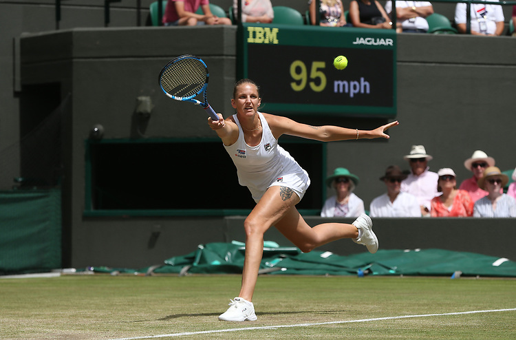 Karolina Pliskova (CZE) during her match against Su-Wei Hsieh (TPE) in their Ladies' Singles Third Round match<br /> <br /> Photographer Rob Newell/CameraSport<br /> <br /> Wimbledon Lawn Tennis Championships - Day 5 - Friday 5th July 2019 -  All England Lawn Tennis and Croquet Club - Wimbledon - London - England<br /> <br /> World Copyright © 2019 CameraSport. All rights reserved. 43 Linden Ave. Countesthorpe. Leicester. England. LE8 5PG - Tel: +44 (0) 116 277 4147 - admin@camerasport.com - www.camerasport.com