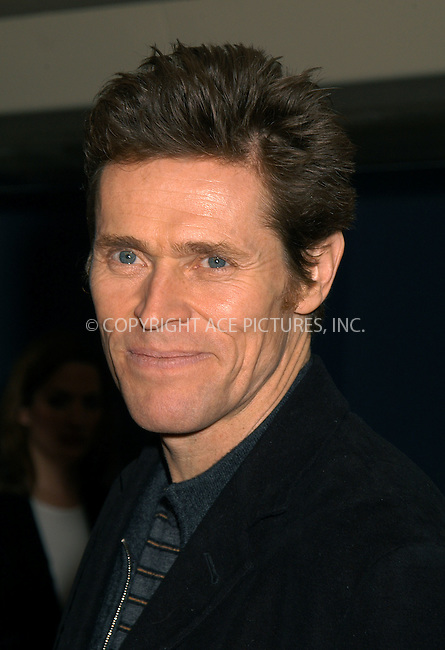 Willem Dafoe at the premiere of 'The Reckoning.' New York, March 3, 2004. Please byline: AJ SOKALNER/ACE Pictures.   ..*PAY-PER-USE*      ....IMPORTANT: Please note that our old trade name, NEW YORK PHOTO PRESS (NYPP), is replaced by new name, ACE PICTURES. New York Photo Press and ACE Pictures are owned by All Celebrity Entertainment, Inc.......All Celebrity Entertainment, Inc:  ..contact: Alecsey Boldeskul (646) 267-6913 ..Philip Vaughan (646) 769-0430..e-mail: info@nyphotopress.com