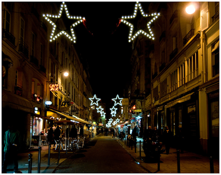 Paris left bank street at night, with Christmas decorations