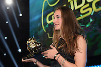 20170208 – LINT ,  BELGIUM : Tessa Wullaert pictured during the  63nd men edition of the Golden Shoe award ceremony and 1st Women's edition, Wednesday 8 February 2017, in Lint AED studio. The Golden Shoe (Gouden Schoen / Soulier d'Or) is an award for the best soccer player of the Belgian Jupiler Pro League championship during the year 2016. The female edition is a first in Belgium.  PHOTO DIRK VUYLSTEKE | Sportpix.be