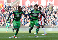 Swansea City's Alberto Paloschi celebrates his goal during the Barclays Premier League match between Stoke City and Swansea City played at Britannia Stadium, Stoke on April 2nd 2016