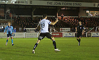 Sean Francis of Bromley celebrates after scoring the opening goal during the Vanarama National League match between Bromley and Grimsby Town at Hayes Lane, Bromley, England on 9 February 2016. Photo by Alan  Stanford.