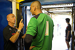 St Albans 0 Watford 5, 26/07/2014. Clarence Park, Pre Season Friendly. Pre Season friendly between St Albans City and Watford from Clarence Park Stadium. Giuseppe Sannino with some pre match instructions for goalkeeper Heurelho Gomes.Watford won the game 5-0. Photo by Simon Gill.