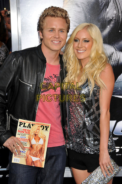 "SPENCER PRATT & HEIDI MONTAG PRATT.""G.I. Joe: The Rise Of Cobra"" Los Angeles Special Screening held at Grauman's Chinese Theatre, Hollywood, CA, USA, 6th August 2009..half length Playboy magazine cover black leather jacket married couple husband wife silver sequined top sparkly clutch bag shorts cross necklace .CAP/ADM/BP.©Byron Purvis/Admedia/Capital Pictures"