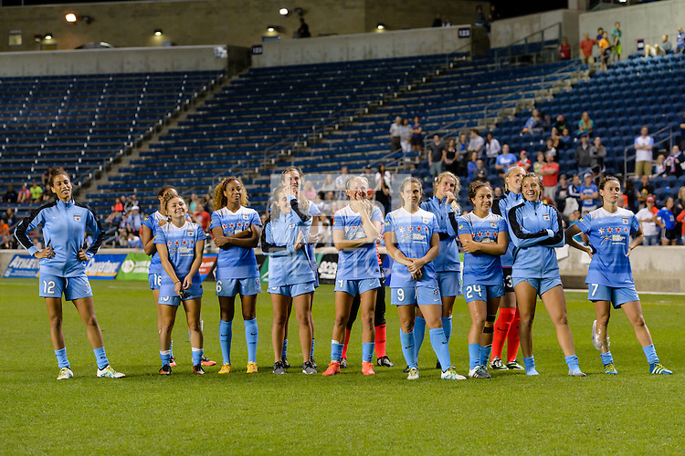 Chicago, IL - Saturday July 30, 2016: Chicago Red Stars after a regular season National Women's Soccer League (NWSL) match between the Chicago Red Stars and FC Kansas City at Toyota Park.