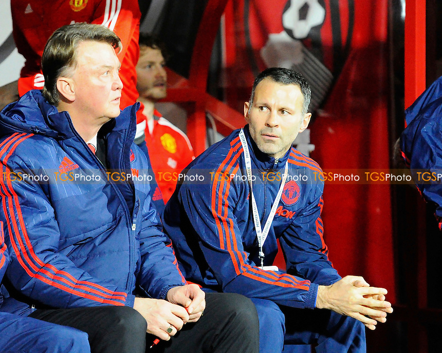 Manchester United Manager Luis van Gaal and Ryan Giggs during AFC Bournemouth vs Manchester United at the Vitality Stadium