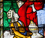 Sixteenth century stained glass window detail Fairford, Gloucestershire, England, UK hidden portrait Queen Elizabeth of York 1465-1503