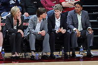 STANFORD, CA - February 27, 2014: Stanford Cardinal's coaching staff during Stanford's 83-60 victory over Washington at Maples Pavilion.