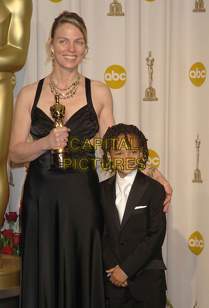 TORILL KOVE & JADEN CHRISTOPHER SYRE SMITH.The 79th Annual Academy Awards - Press Room held at the Kodak Theatre, Hollywood, California, USA..February 25th, 2007.oscars award trophy half length black dress suit.CAP/ADM/RE.©Russ Elliot/AdMedia/Capital Pictures *** Local Caption *** .