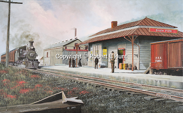 "PRR passenger train with steam locomotive pulling into the South Fork, PA, Pennyslvania Railroad station circa 1900. Oil on canvas, 15"" x 24""."