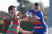 Ngataua Hukatai breaks past Jack Hardie and Ben Thornton. Counties Manukau Premier Club Rugby game between Waiuku and Ardmore Marist, played at Waiuku on Saturday June 4th 2016. Ardmore Marist won 46 - 3 after leading 39 - 3 at Halftime. Photo by Richard Spranger.