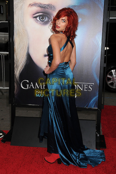 "Natalia Tena.""Game Of Thrones"" 3rd Season Los Angeles Premiere held at the TCL Chinese Theatre, Hollywood, California, USA..March 18th, 2013.full length dress blue silk satin dress pink shoes boots side back behind rear looking over shoulder .CAP/ADM/BP.©Byron Purvis/AdMedia/Capital Pictures."