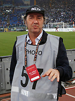 Director  Paolo Sorrentino wears the photographer jacket during the  italian serie a soccer match,between AS Roma  and Juventus     at  the Olympic   stadium in Rome  Italy , May 14, 2017