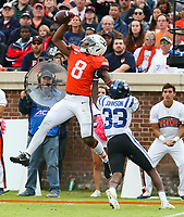 ANDREW SHURTLEFF/THE DAILY PROGRESS <br /> Virginia wide receiver Hasise Dubois (8) makes a one handed catch next to Duke cornerback Leonard Johnson (33) during the game Saturday at Scott Stadium. Virginia defeated Duke 48-14.