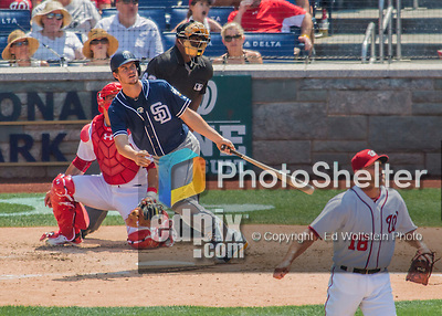 24 July 2016: San Diego Padres first baseman Wil Myers in action against the Washington Nationals at Nationals Park in Washington, DC. The Padres defeated the Nationals 10-6 to take the rubber match of their 3-game, weekend series. Mandatory Credit: Ed Wolfstein Photo *** RAW (NEF) Image File Available ***