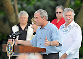 Washington, D.C. - June 5, 2008 -- United States President George W. Bush makes remarks as he and first lady Laura Bush host the Congressional Picnic on the South Lawn of The White House on Thursday, June 5, 2008.  The Bushes are joined by members of the Oakridge Boys who performed at the picnic.<br /> Credit: Ron Sachs / Pool via CNP