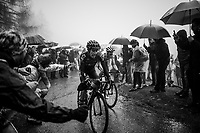 Iván Ramiro Sosa (COL/INEOS) & Maglia Bianca / best young rider Pavel Sivakov (RUS/Ineos) up the extremely wet, cold & misty Cole di Mortirolo <br /> <br /> Stage 16: Lovere to Ponte di Legno (194km)<br /> 102nd Giro d'Italia 2019<br /> <br /> ©kramon