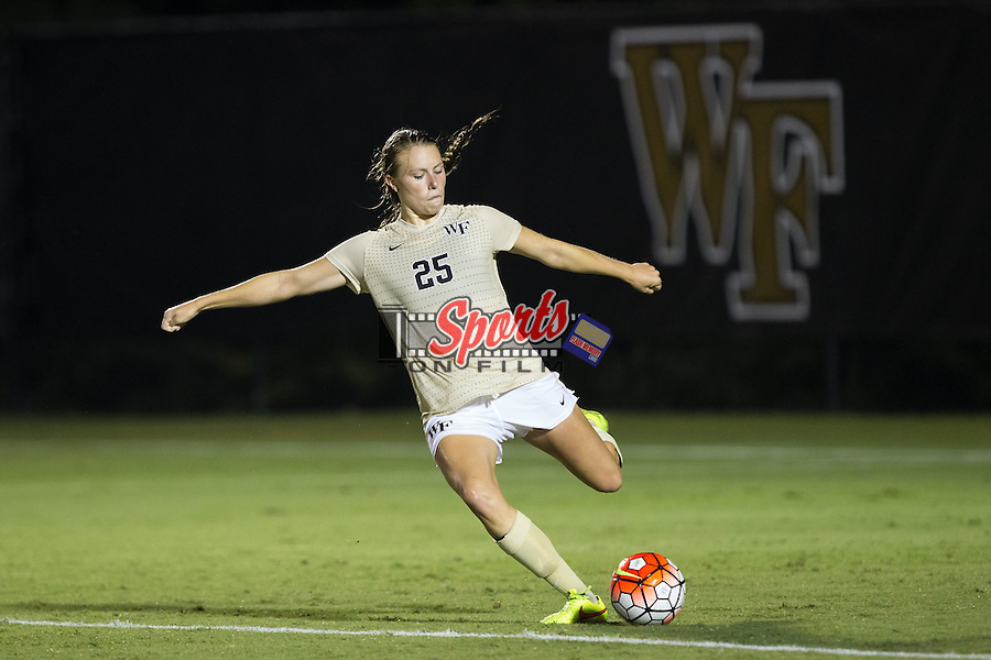 Ally Haran (25) of the Wake Forest Demon Deacons kicks the ball during second half action against the UCLA Bruins at Spry Soccer Stadium on September 11, 2015 in Winston-Salem, North Carolina.  The Bruins defeated the Demon Deacons 2-1.  (Brian Westerholt/Sports On Film)