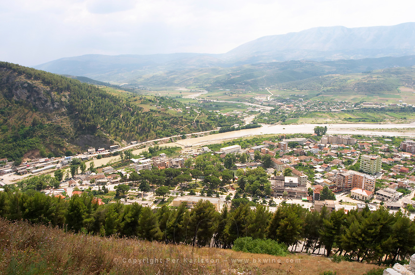 A view down on the modern lower part of the town. Berat lower town. Albania, Balkan, Europe.