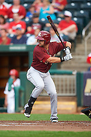 Frisco RoughRiders outfielder Jake Skole (5) at bat during a game against the Springfield Cardinals on June 3, 2015 at Hammons Field in Springfield, Missouri.  Springfield defeated Frisco 7-2.  (Mike Janes/Four Seam Images)