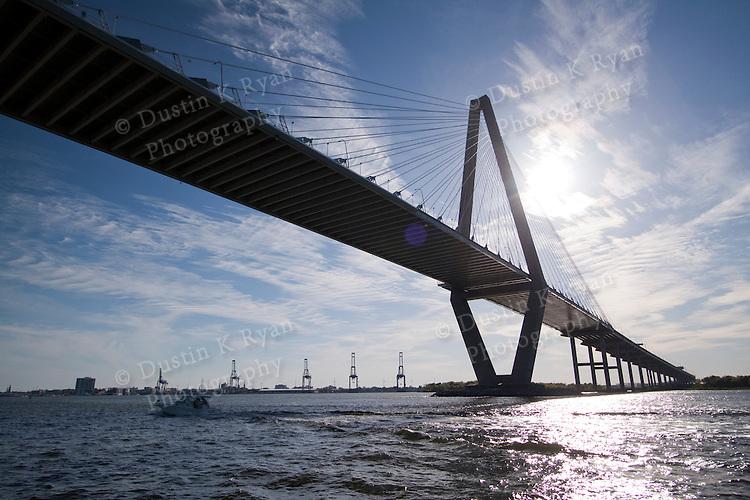 Arthur Ravenel Jr Bridge over the Cooper River, also known as the Cooper River Bridge.  Located on the harbor in Charleston South Carolina