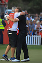 Shane Lowry (IRL) and his caddie during the final round of the Abu Dhabi HSBC Championship presented by EGA played at Abu Dhabi Golf Club, Abu Dhabi, UAE. 17/01/2019<br /> Picture: Golffile | Phil Inglis<br /> <br /> All photo usage must carry mandatory copyright credit (© Golffile | Phil Inglis)