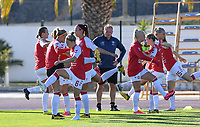 20200310  Lagos , Portugal : Danish players pictured during warming up of the female football game between the national teams of Belgium called the Red Flames and Denmark on the third and last matchday for the 5th or 6th place of the Algarve Cup 2020 , a prestigious friendly womensoccer tournament in Portugal , on tuesday 10 th March 2020 in Lagos , Portugal . PHOTO SPORTPIX.BE | DAVID CATRY