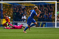 Mitchell Pinnock of AFC Wimbledon scores the third goal for his team and celebrates during AFC Wimbledon vs Rochdale, Sky Bet EFL League 1 Football at the Cherry Red Records Stadium on 5th October 2019