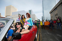 PrifeFest's Imperial Court drives the parade route through Anchorage in a 1971 Chevy Chevelle during Alaska PrideFest's 2015 Equality Parade.