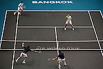 BANGKOK, THAILAND - OCTOBER 01:  Christopher Kas (top L) of Germany and Viktor Troicki (top R) of Serbia in action on their doubles match against Colin Fleming and Ken Skupski of Great Britain during the Day 7 of the PTT Thailand Open at Impact Arena on September 30, 2010 in Bangkok, Thailand. Photo by Victor Fraile / The Power of Sport Images